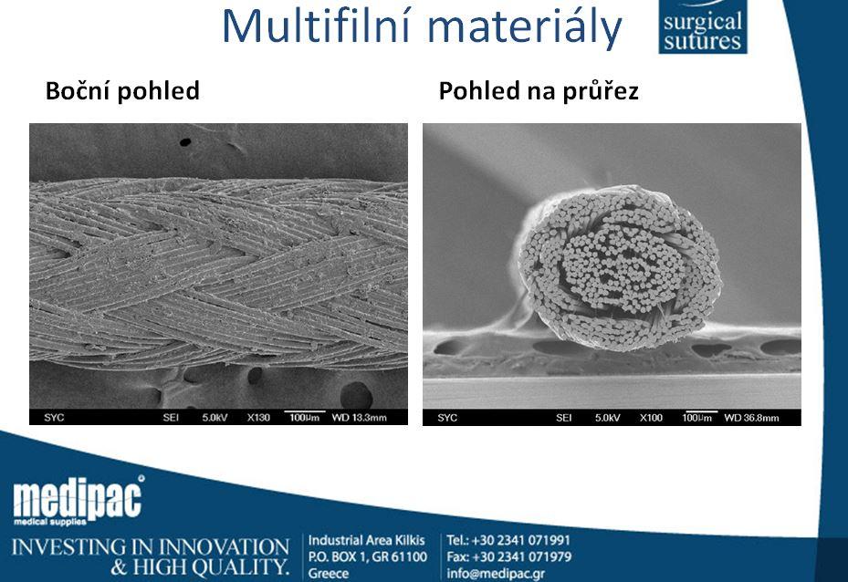 multifilní šicí materiál pod mikroskopem